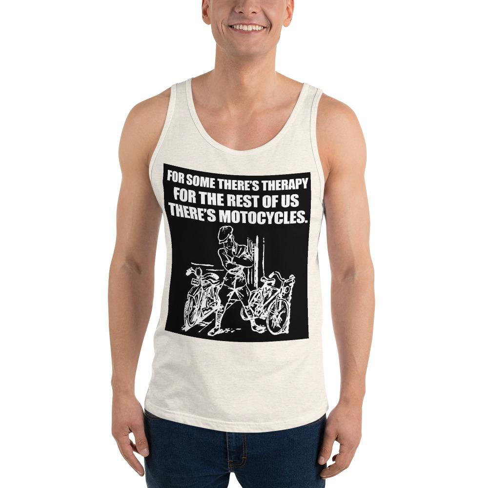For Some There's Therapy Tank Top Biker Chiro's Oatmeal Triblend XS