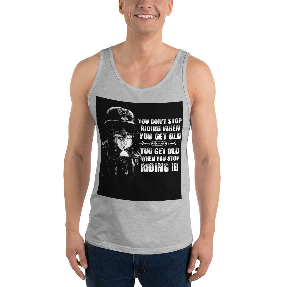 Get Old When You Stop Riding Tank Top Chiro's Athletic Heather XS