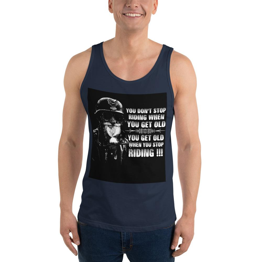 Get Old When You Stop Riding Tank Top Chiro's Navy XS