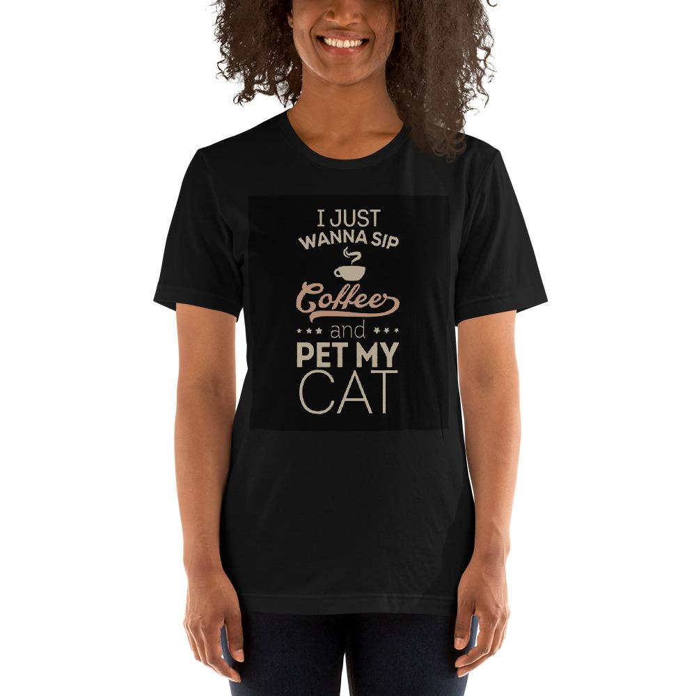 I just wanna sip coffee and pet my cat Women's T-Shirt Chiro's Black XS