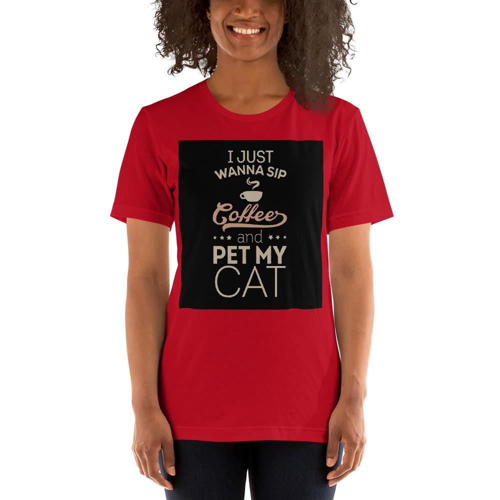 I just wanna sip coffee and pet my cat Women's T-Shirt Chiro's Red S