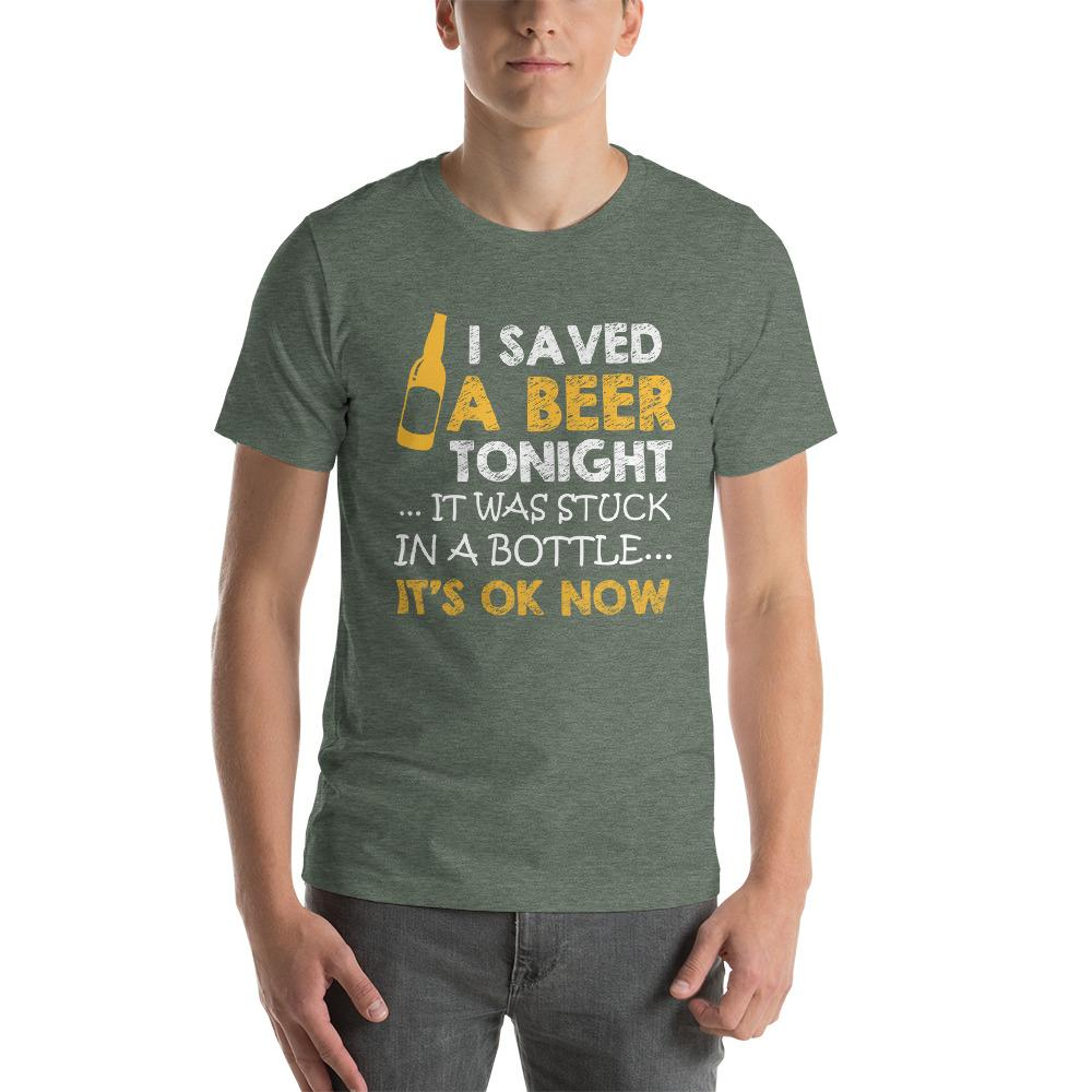 I saved a beer, it was stuck in a bottle Men's T-Shirt Chiro's Heather Forest S