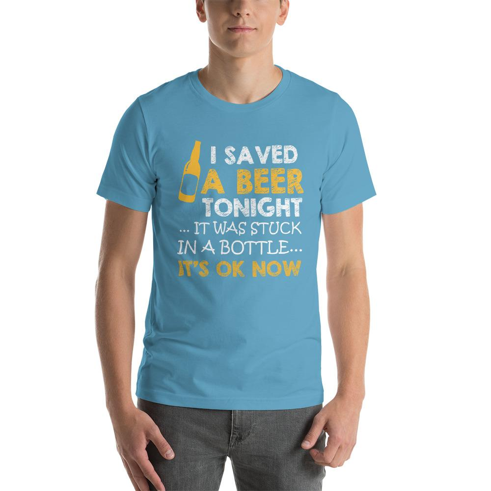 I saved a beer, it was stuck in a bottle Men's T-Shirt Chiro's Ocean Blue S