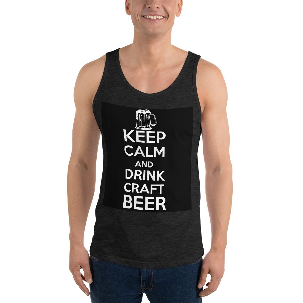Keep Calm And Drink Craft Beer Tank Top Chiro's Charcoal-Black Triblend XS