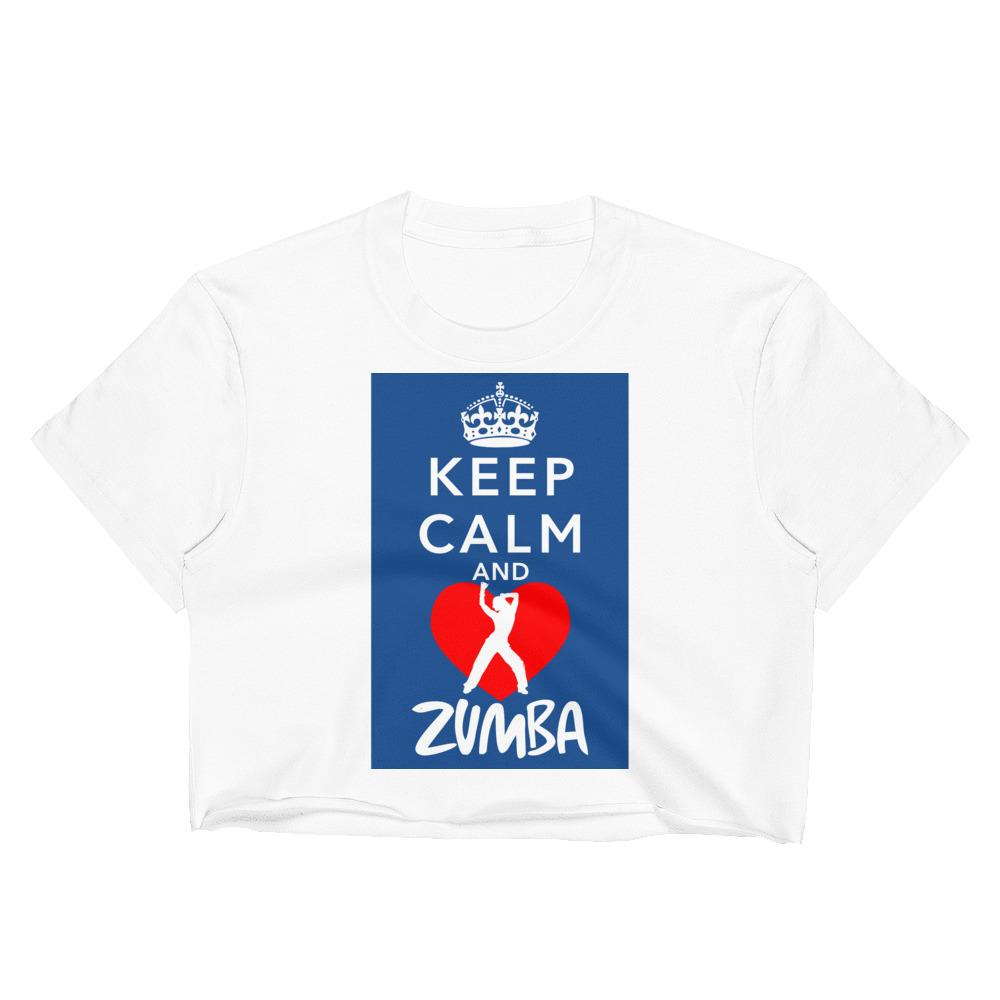 Keep Calm and Zumba Crop Top Chiro's White S