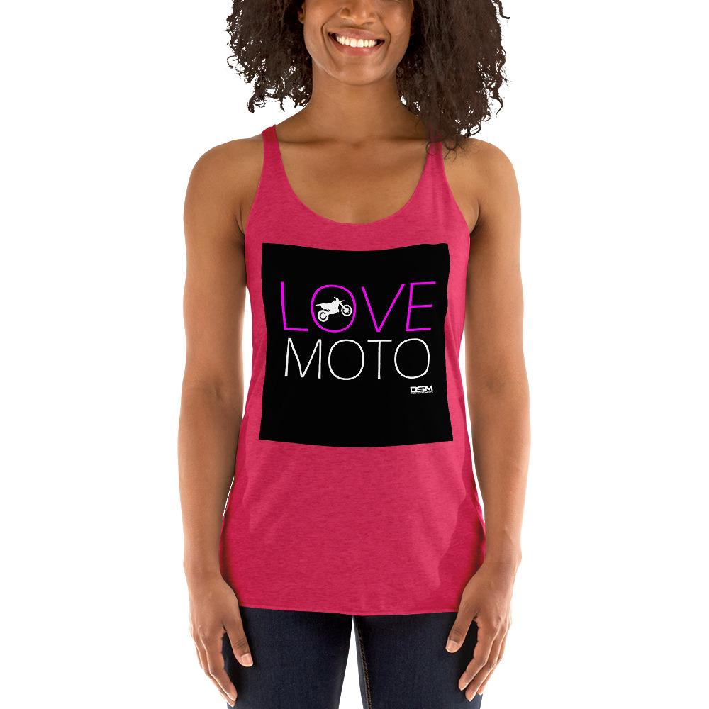 Love Motto Women's Tank Top Biker Chiro's Vintage Shocking Pink XS