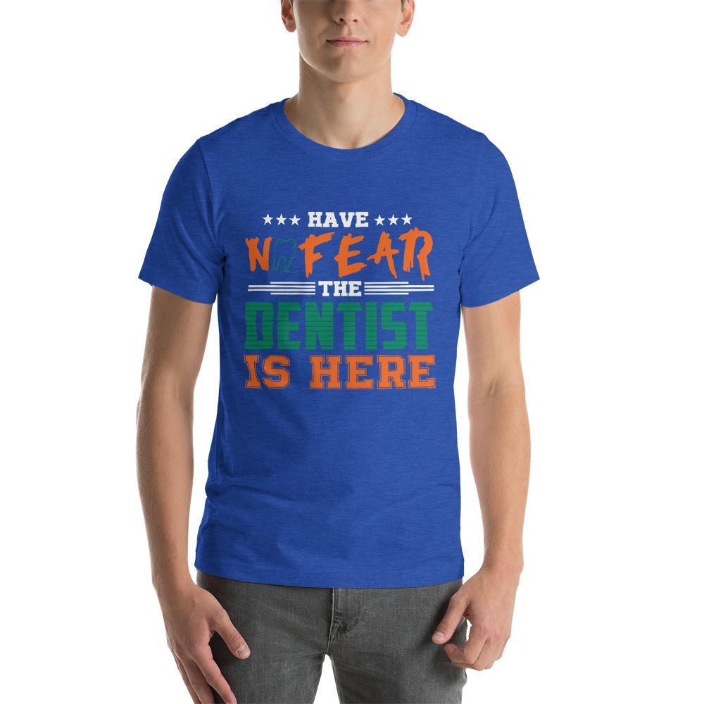 No Fear Dentists here Men's T-Shirt Chiro's Heather True Royal S