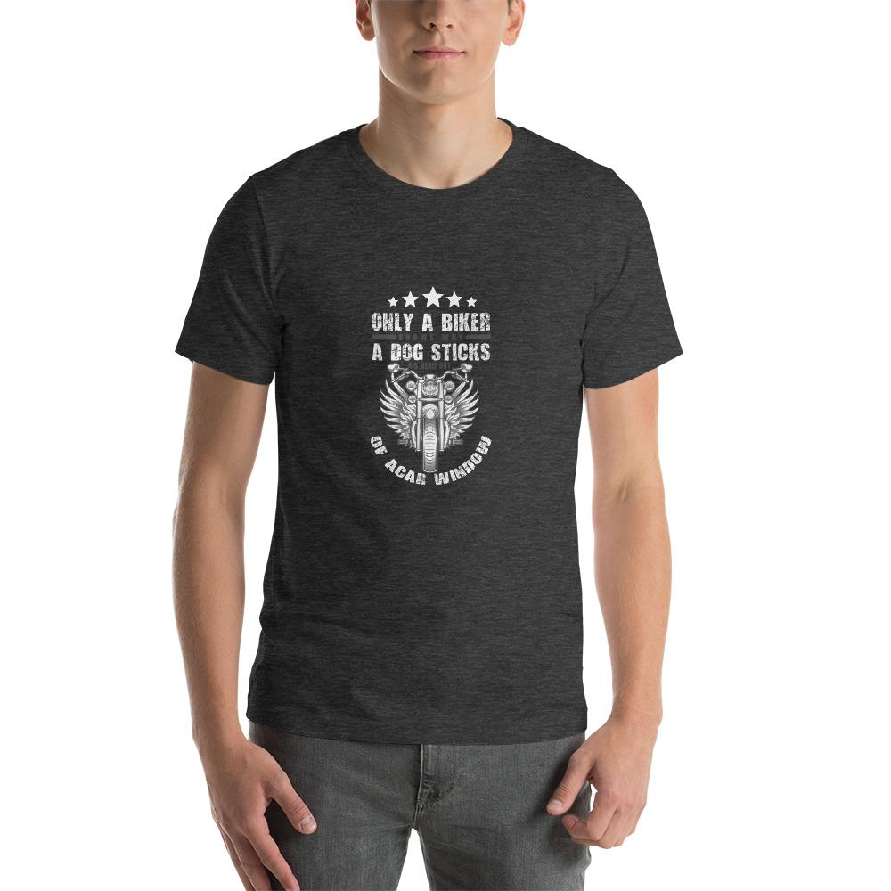 Only A Dog Knows Men's T-Shirt Biker Chiro's Dark Grey Heather XS