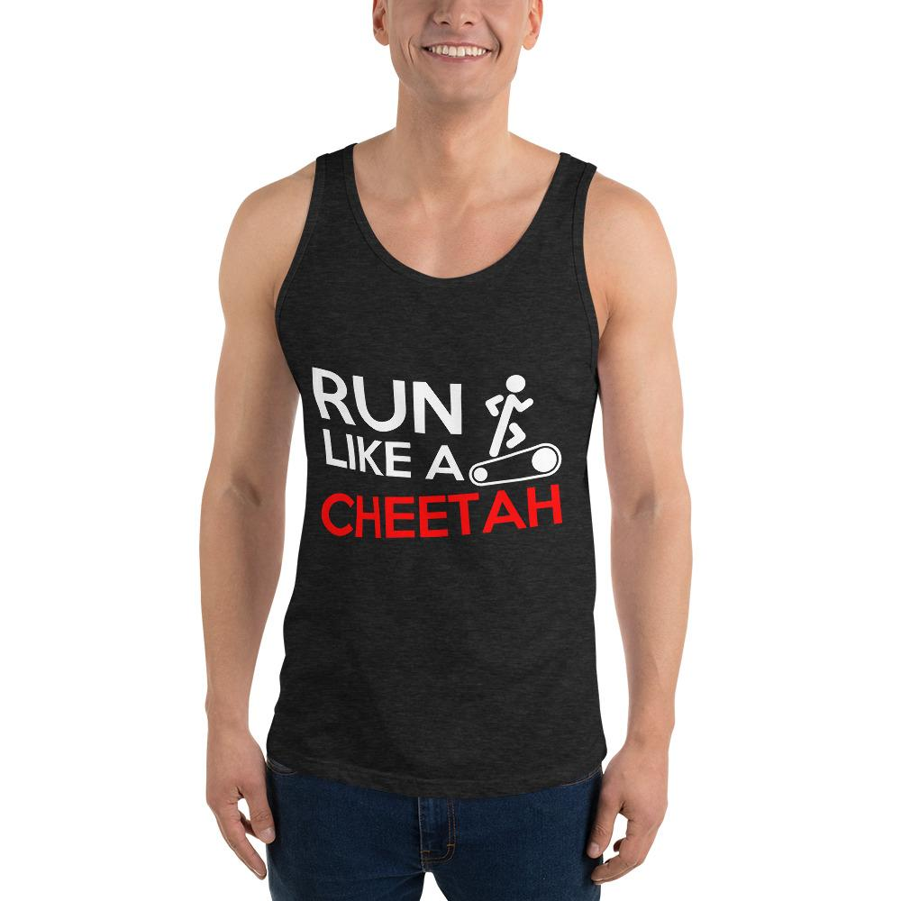 Run Like A Cheetah Tank Top Chiro's Charcoal-Black Triblend XS