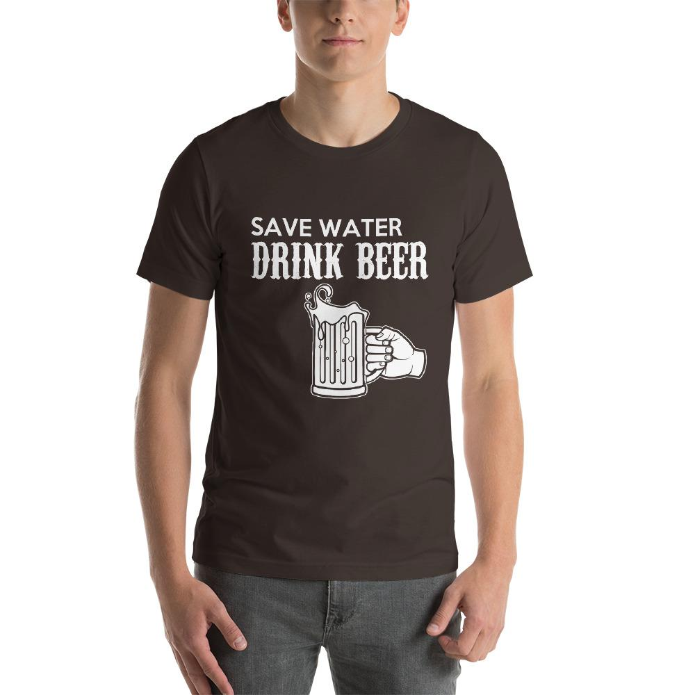 Save Water, Drink Beer Men's T-Shirt Chiro's Brown S