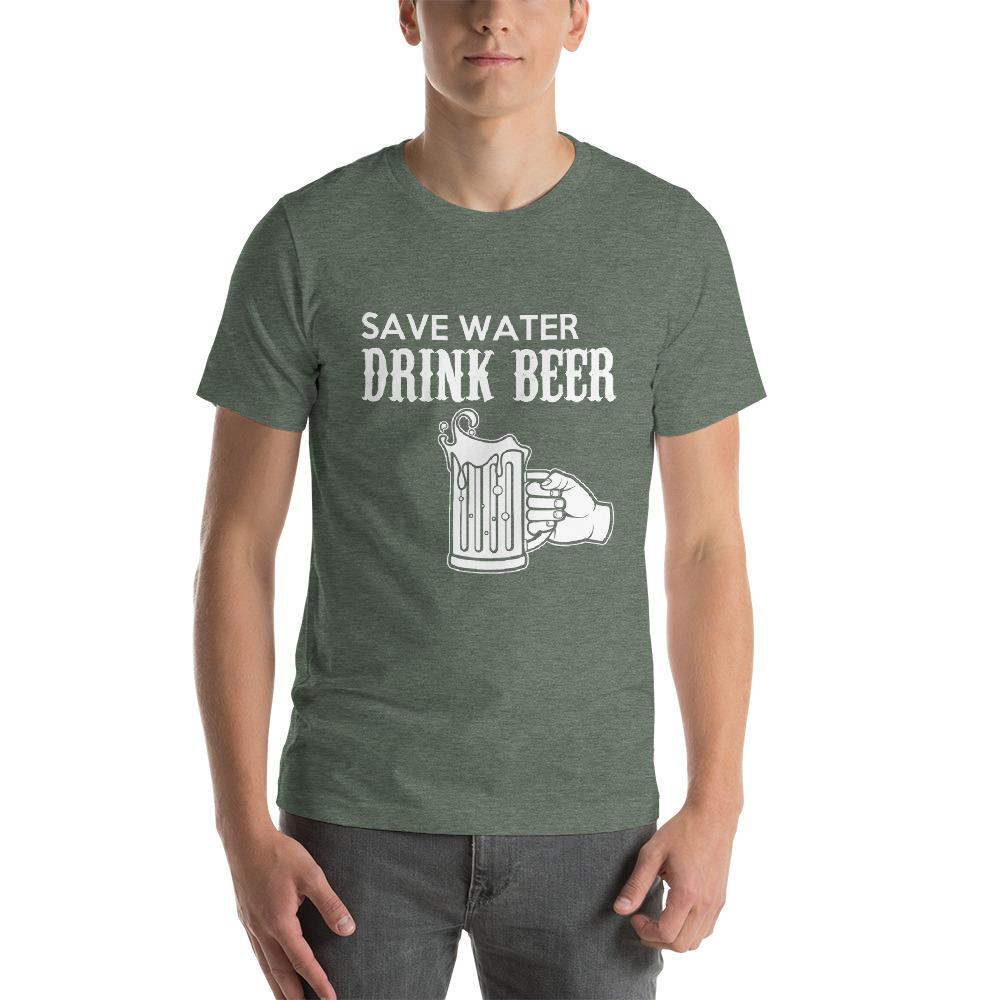 Save Water, Drink Beer Men's T-Shirt Chiro's Heather Forest S