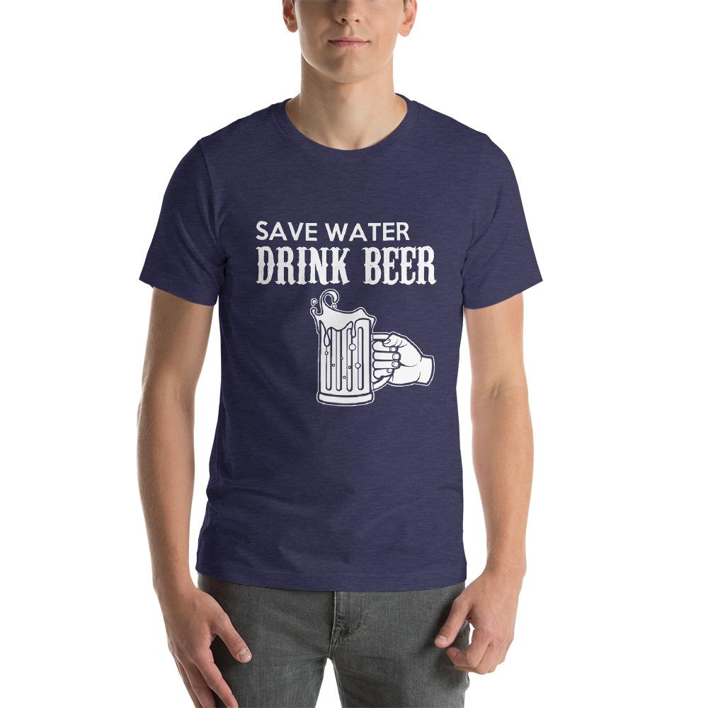 Save Water, Drink Beer Men's T-Shirt Chiro's Heather Midnight Navy XS