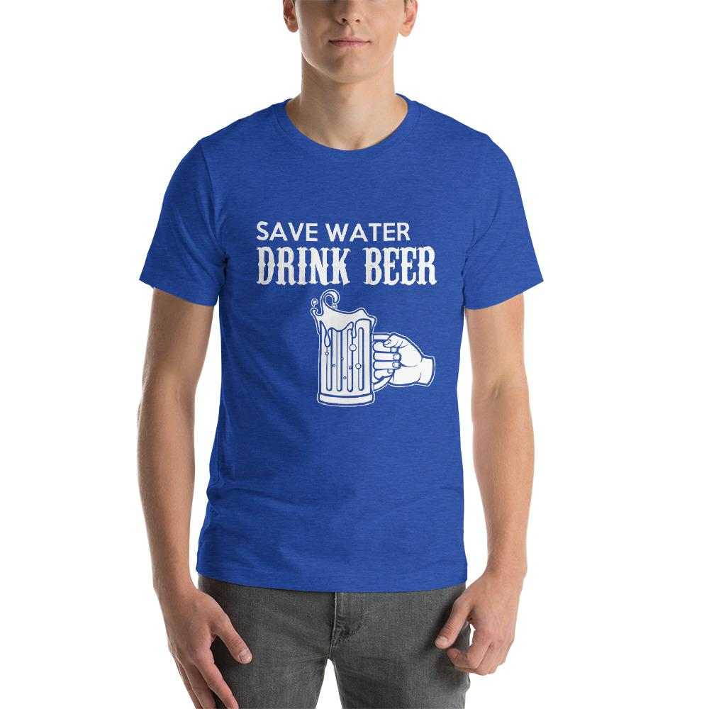 Save Water, Drink Beer Men's T-Shirt Chiro's Heather True Royal S
