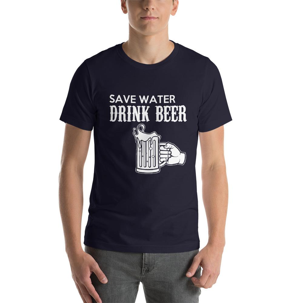 Save Water, Drink Beer Men's T-Shirt Chiro's Navy XS