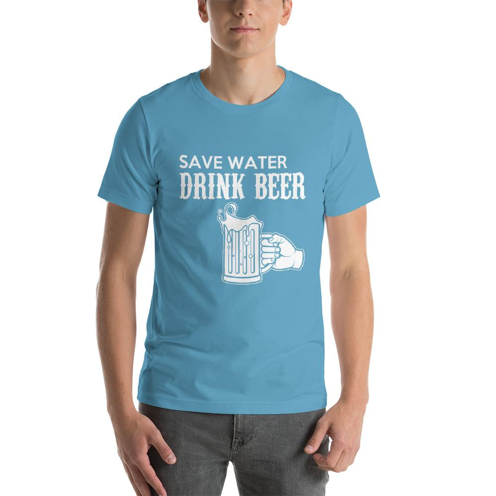 Save Water, Drink Beer Men's T-Shirt Chiro's Ocean Blue S