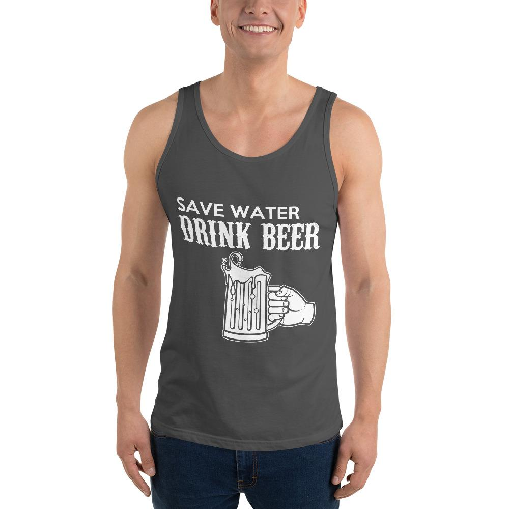 Save Water Drink Beer Tank Top Chiro's Asphalt XS