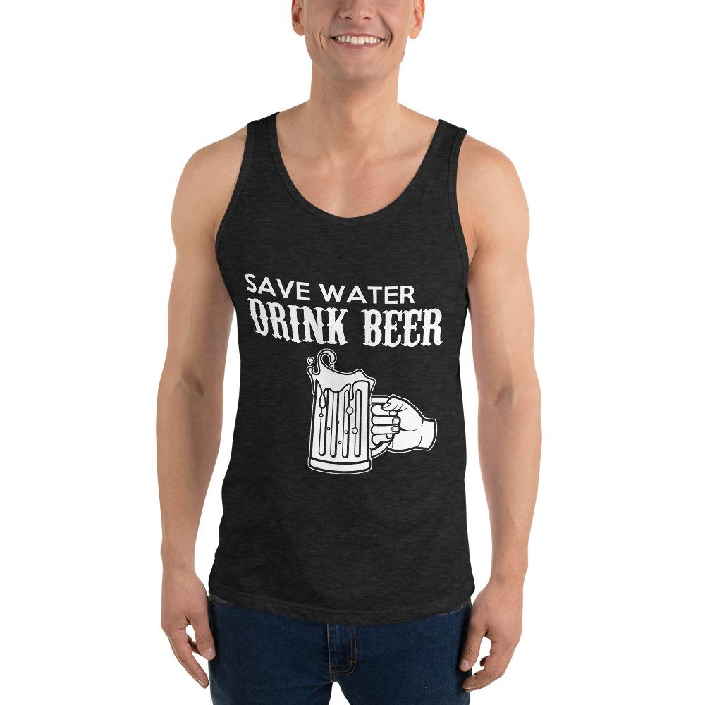 Save Water Drink Beer Tank Top Chiro's Charcoal-Black Triblend XS