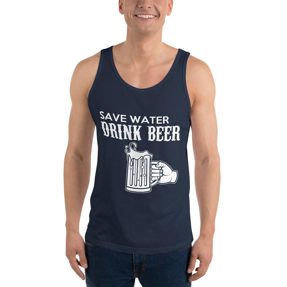 Save Water Drink Beer Tank Top Chiro's Navy XS
