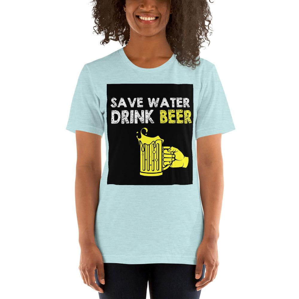 Save Water Drink Beer Women's T-Shirt Chiro's Heather Prism Ice Blue XS