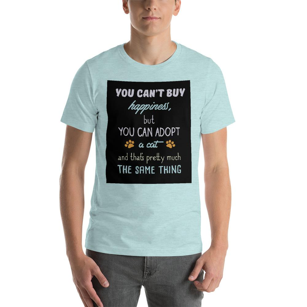 You can't buy happiness, but you can adopt a cat Men's T-Shirt Chiro's Heather Prism Ice Blue XS