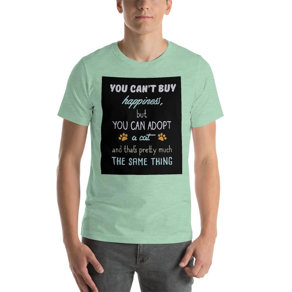 You can't buy happiness, but you can adopt a cat Men's T-Shirt Chiro's Heather Prism Mint XS