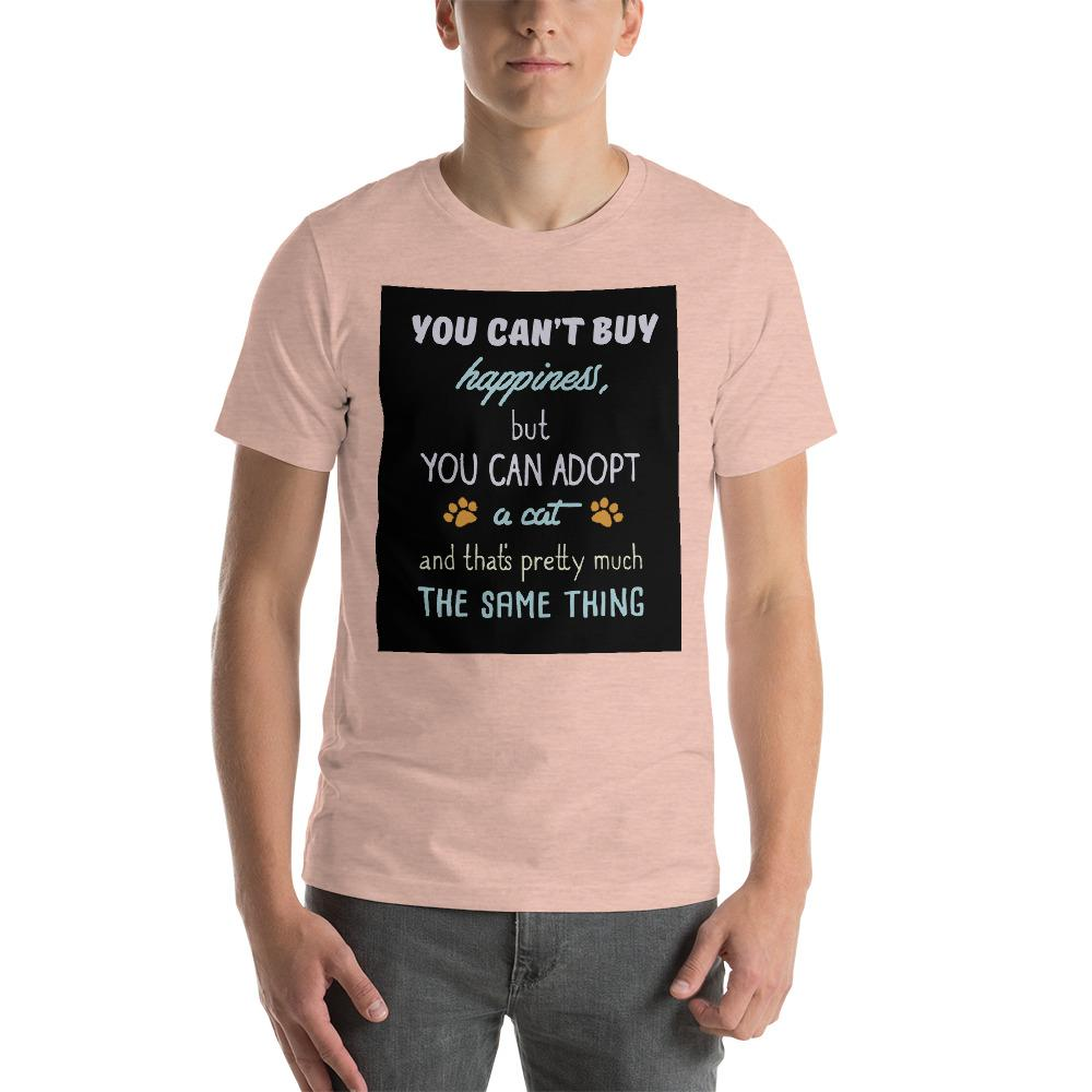 You can't buy happiness, but you can adopt a cat Men's T-Shirt Chiro's Heather Prism Peach XS