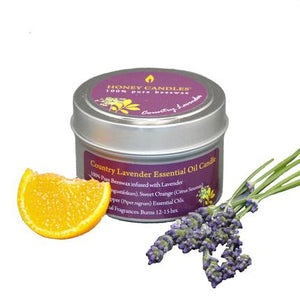 Country Lavender Essential Oil Tin Beeswax Candle