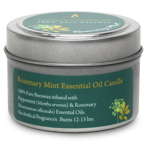 Rosemary Mint Essential Oil Tin Beeswax Candle