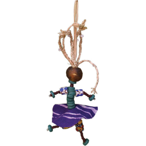 Recycled Glass and Raffia African Spirit Mama Ornament - Global Mamas (H)