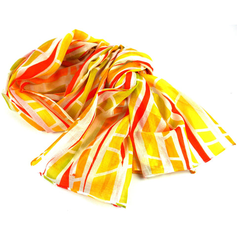 Yellow Columns Design Cotton Scarf - Asha Handicrafts
