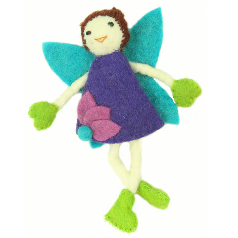 Hand Felted Tooth Fairy Pillow - Brunette with Purple Dress - Global Groove