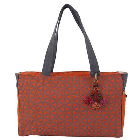 Flower of Life Every Day Bag Terracotta/Grey - Global Groove (B)