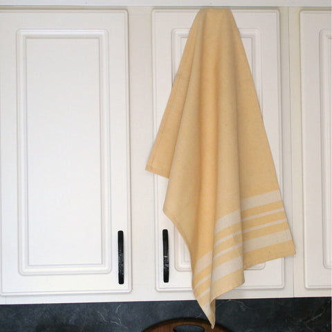 Pale Yellow Cotton Kitchen Towel - Sustainable Threads (L)