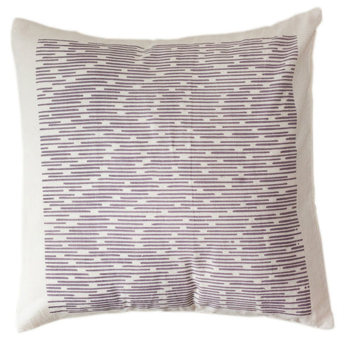 Purple Dashes Pillow Cover 12 by 12 - Sustainable Threads (L)