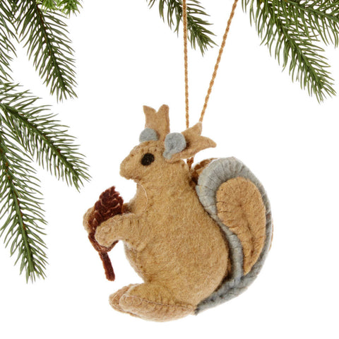 Squirrel Felt Holiday Ornament - Silk Road Bazaar (O)
