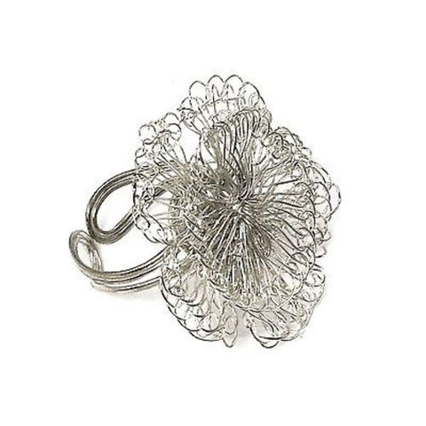 Dazzling Blossom Ring - Silvertone - WorldFinds