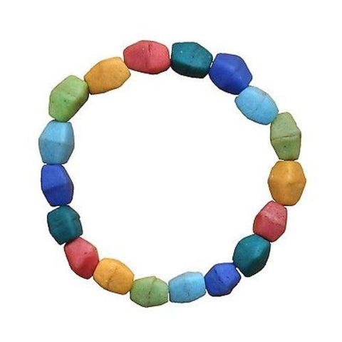 Multicolor Rainbow Glass Pebbles Bracelet - Global Mamas