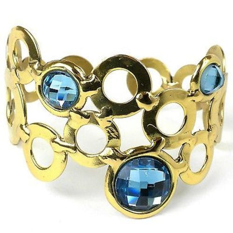 Sky Blue Bubble Brass Cuff - Brass Images (C)