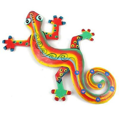 Eight Inch Serious Stripe Metal Gecko - Caribbean Craft
