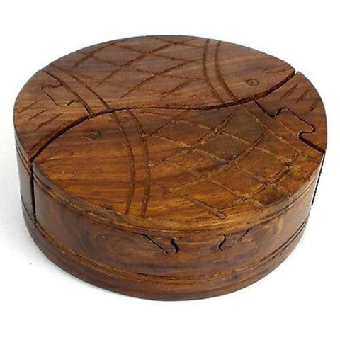 Handcrafted Sheesham Wood Round Fish Puzzle Box - Noahs Ark
