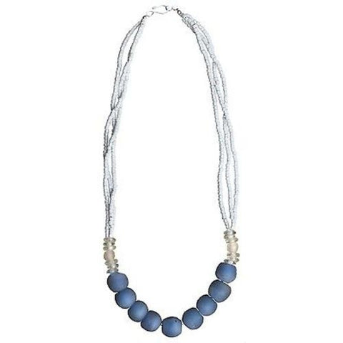 Recycled Blue Abacus Glass Bead Necklace - Global Mamas