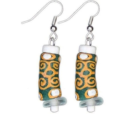 Recycled Glass Adinkra-Strength Earrings in Green - Global Mamas