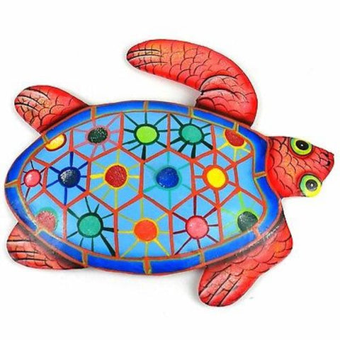 Hand Painted Metal Turtle Tropical Design - Caribbean Craft