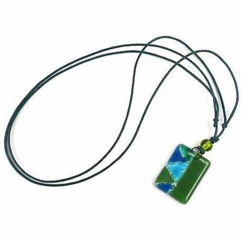 Green Zig-Zag Fused Glass Pendant Necklace - Tili Glass