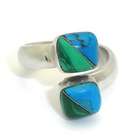 Two Cube Malachite Turquoise Wrap Ring - Artisana