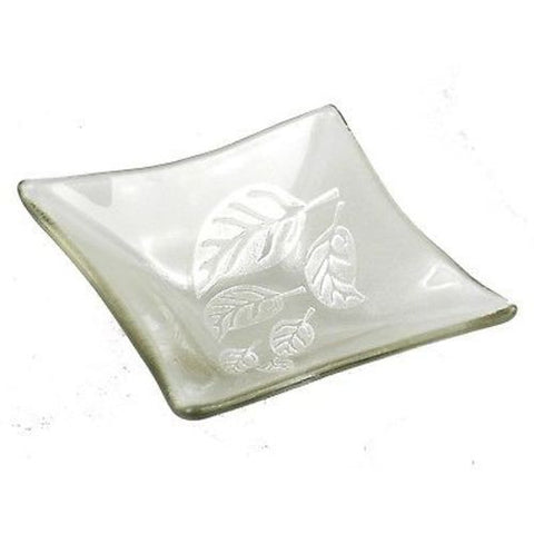Etched Leaf Small Recycled Clear Glass Dish - Tili Glass (G)