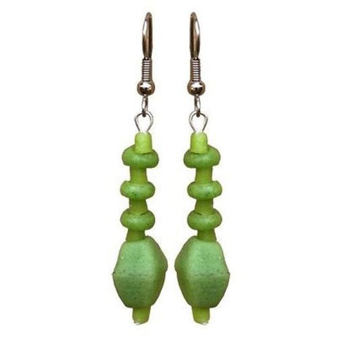 Lime Green Glass Pebbles Earrings - Global Mamas