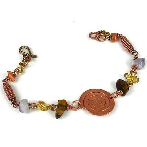 Handcrafted Copper, Brass, and Agate Bracelet with Copper Swirl - Zakali Creations