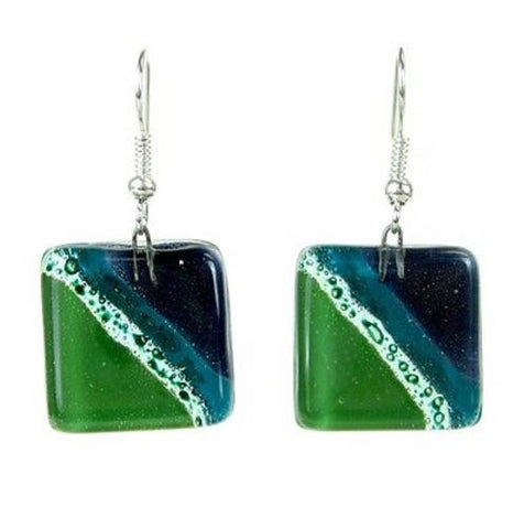 Ocean River Meadow Fused Glass Earrings - Tili Glass