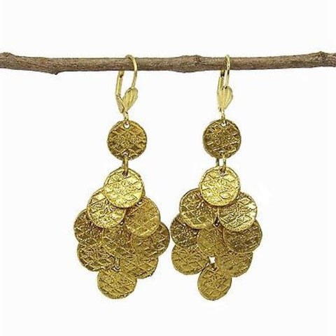 Stamped Disk Chandelier Earrings in Goldtone - WorldFinds